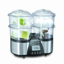 Food Steamer with 1.5L Large Water Tank and Transparent Heatproof Plastic Steam Bowl