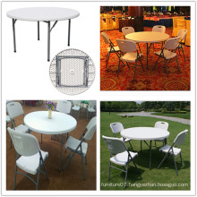 Blow Mold Lightweight Portable Indoor Dining Catering Banquet HDPE Plastic 4FT Folding Round Table (HQ-Y120)