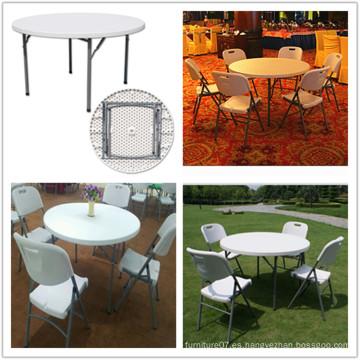(HQ-Y120) Molde de soplado ligero portátil de interior comedor de banquetes HDPE plástico 4FT plegable mesa redonda