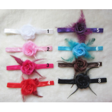 Feather Rose Sequined Hair Band, Smooth Elastic Headband, Headdress Hair Accessories