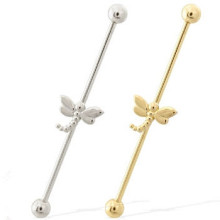14k Gold Industrial Barbell mit Dragonfly Charm