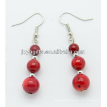 Red coral with silver beads earring