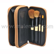 4PCS Gift Cosmetic Brush with Leather Case