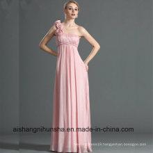 One Shoulder Straight Neckline Hand-Made Flowers Bridesmaid Dress
