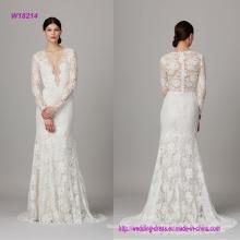 Vestido de novia de encaje con cuello en V de manga larga