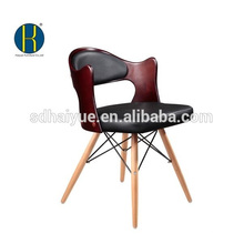 Vente chaude noir meubles de salle à manger pu avec des jambes en bois