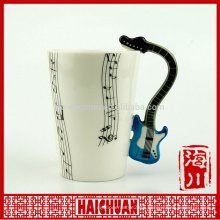 hand painted guitar design ceramic mug