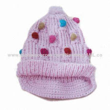 Decorated Hat with Small Colorful Balls, Keeps Warm