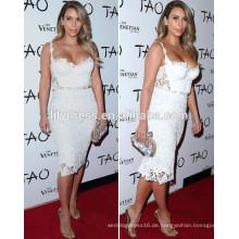 Weiße Hülle Knie Längenschatz Ausschnitt nach Maß Rote Teppich Feier Kleider KD002 Kim Kardashian Promi Kleider