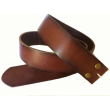 New Brown Distressed Leather Snap On Belt