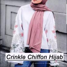 2017 verano mujer color sólido musulmán plian al por mayor hijab arruga instante mantón chifón hijab