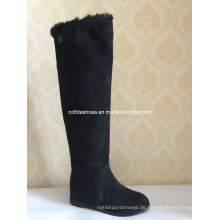 Schwarze Komfort-flache Mode-warmer Gummidame-Pelz-Stiefel