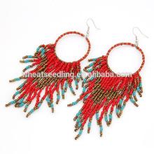 2014 moda semente grânulo vermelho pendurar brincos