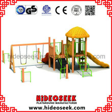 Equipamento de campo para crianças com estilo de madeira com balanço e deslizamento