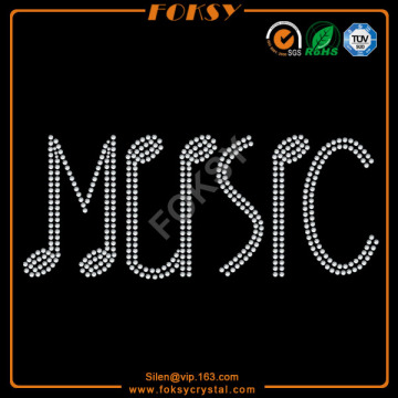 New Fashion Design for Letters Rhinestone Transfer Music letter iron on rhinestone transfers supply to Cameroon Factories