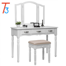 3 Large Drawers, Tri folding Mirror, Wood Makeup Dressing Table with Cushioned Stool