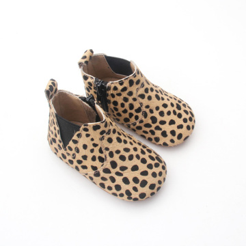 Venta al por mayor Winter Leopard Baby Genuine Leather Boots