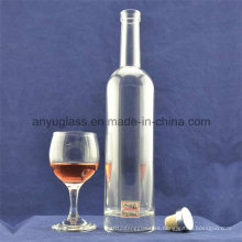 Botella de vidrio redondo transparente 500ml Botella de whisky botella de vidrio de vino de hielo