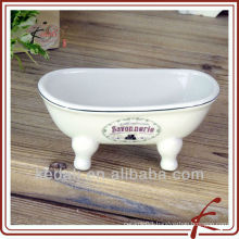 Household Item Porcelain Ceramic mini Bathtub Soap Dish Soap Holder
