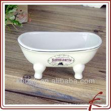 Casa Item Porcelana Cerâmica mini banheira sabonete prato titular de sabão