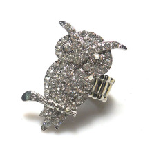 wholesale Christmas fashion accessories new year 2014 shinning rhodium plate metal full clear crystal owl shape stretch rings