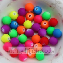 Hot-selling for plastic round beads Wholesale Rubber Neon Acrylic Round Beads in Jewelry making supply to Tunisia Importers