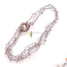 Collier en perles d'agate multicouche crocheté à la main