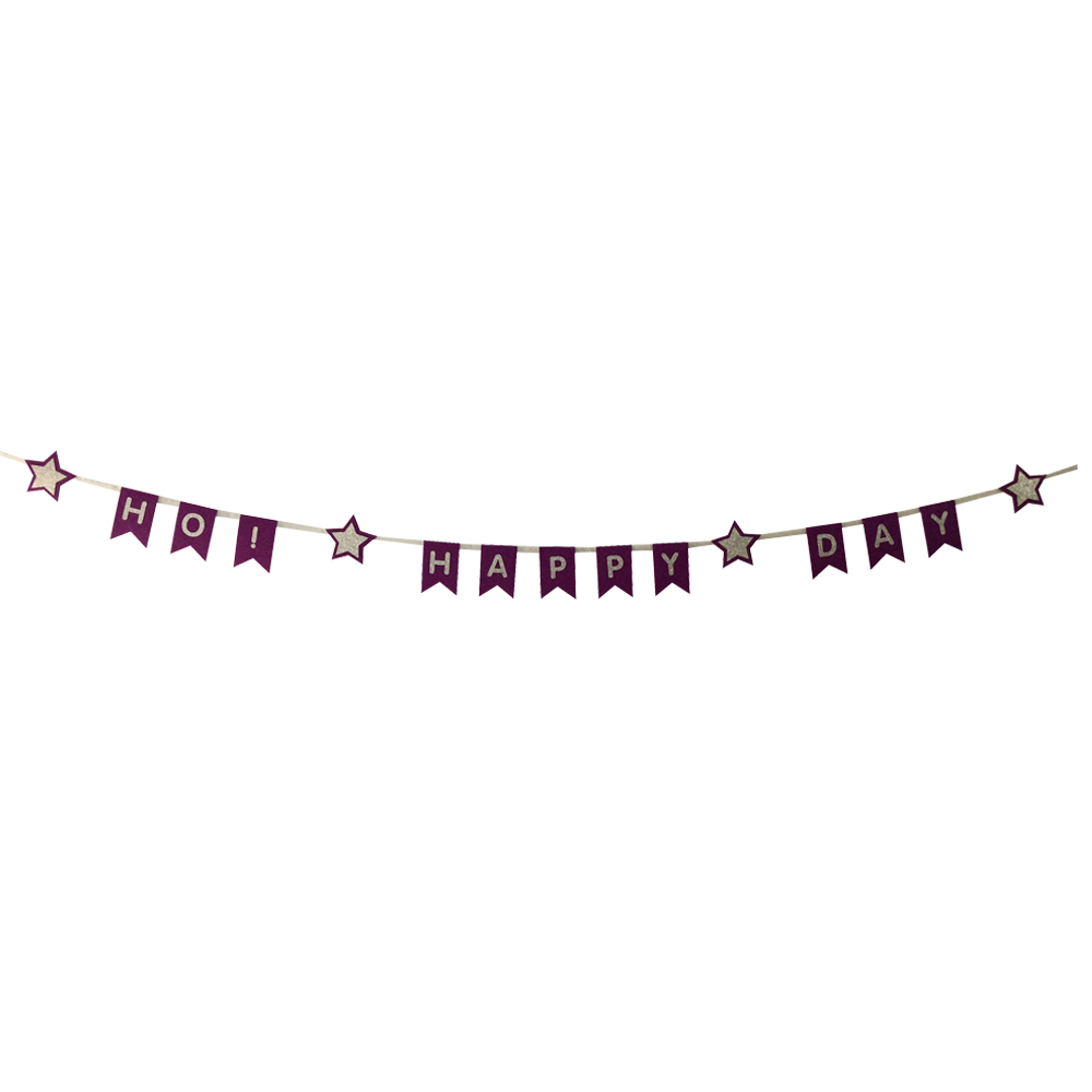 Purple Birthday Bunting Banner