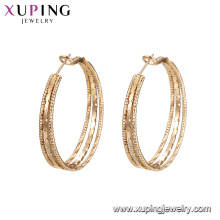 94885 xuping shopping online simple styles elegant multiply hoop earring wire with 18k gold plated