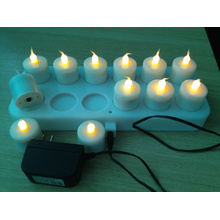 Color changing inductive rechargeable LED tealight candle