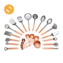 Ustensiles de cuisine européens en acier inoxydable 430 en or rose