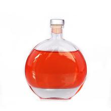 250ml 500ml High quality flat round shape vodka  coffee glass wine bottle
