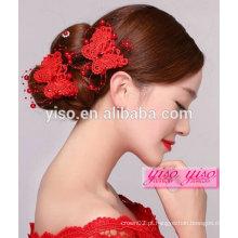 Único casamento chinês flor de noiva acessórios de cabelo adolescente