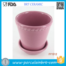 Fantasia linda rosa com pote de cerâmica planta ondulação