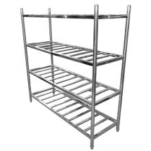 Stainless steel storage shelf on the balcony