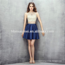 Sleeveless design mini dress 2 pcs set heavy beading guangzhou bridesmaid dress with zipper design