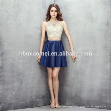 Conception sans manches mini robe 2 pcs ensemble robe de demoiselle d'honneur guangzhou perle lourde avec fermeture à glissière