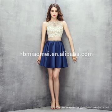 Sleeveless design mini dress 2 pcs set heavy beading guangzhou bridesmaid dress with zipper design