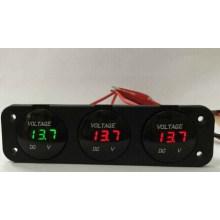 Triple Battery Gauge & Triple LED Voltmeter Car Voltmeter 12V-24V