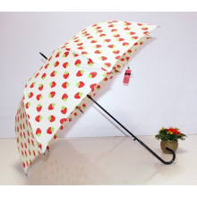 Auto aberto Strawberry impressão Straight Lady Umbrella (BD-62)
