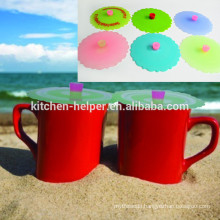 FDA Approved Hot Sell Food Grade Cup Shaped Silicone Cup Lid/Silicone Tea Cup Cover/Mug Silicone Lid