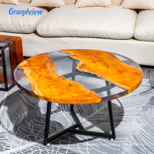 Clear color river pattern chair wooden furniture  resin stool