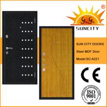 Top-Qualität MDF Inside Steel Gepanzerte Tür mit Furnier (SC-A221)
