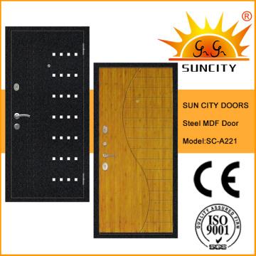 Высокое качество МДФ внутри стальные бронированные двери с облицовкой (СК-A221)