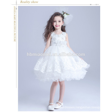 Kids birthday party wer sleeveless flower girl dress sweet short length western wear children frocks designs