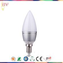 Vela de cristal solar Factort Daylight E14 / E12 de la vela del vidrio LED C37 LED 4W