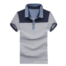 Hochwertige Stiff Collar Grey Baumwolle Plain Polo-Shirts