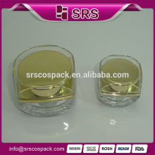 Golden plastic empty jars for sale, free sample 5g 10g mini acrylic empty jars gel for eye cream