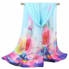 Magnifique impression de couleurs musulmanes style femmes imprimé Floral mousseline de soie polyester hijab écharpe