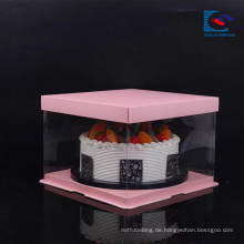 Kostenlose Probe Food Grade Art Paper Hochzeit / Geburtstag Kuchen Verpackung Box mit PVC-Fenster